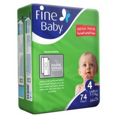 Fine Baby Diapers No.4 74 Pcs Large