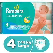 Pampers Active Baby-Dry Diapers No. 4 Large 7-18 kg Value Pack 44